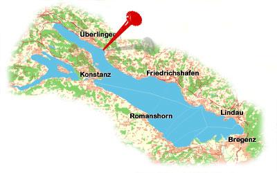 Karte Bodensee mit Uhldingen-Mühlhofen